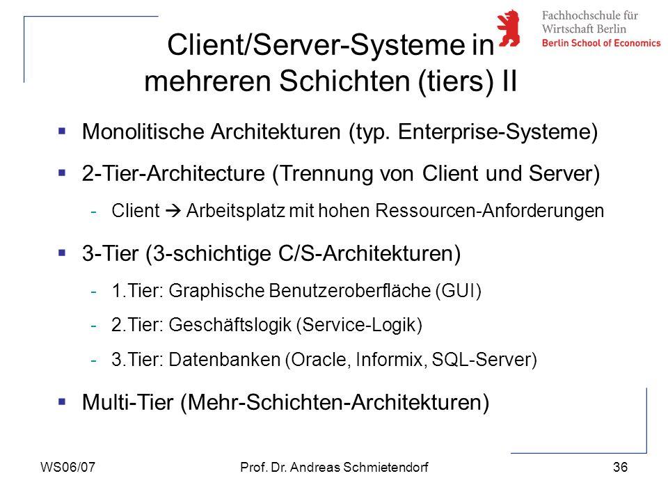 Client/Server-Systeme in mehreren Schichten (tiers) II
