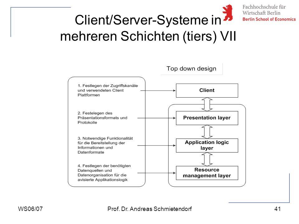 Client/Server-Systeme in mehreren Schichten (tiers) VII
