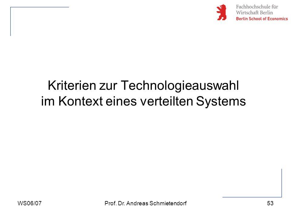 Kriterien zur Technologieauswahl im Kontext eines verteilten Systems