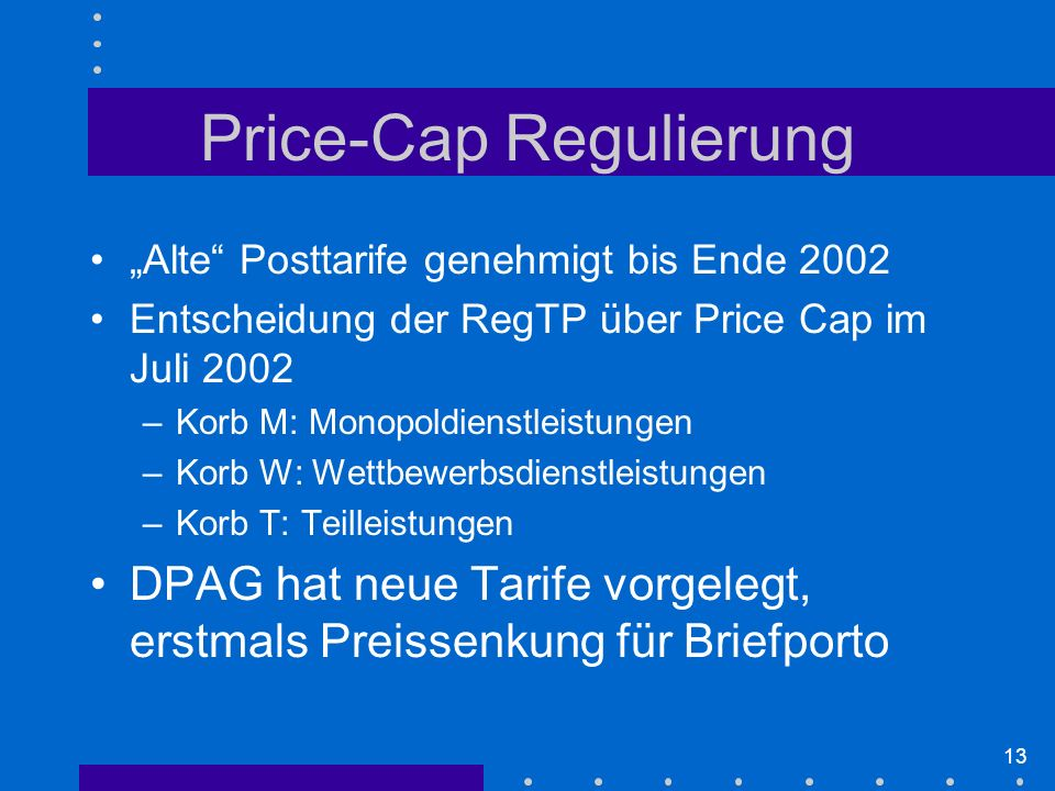 Price-Cap Regulierung