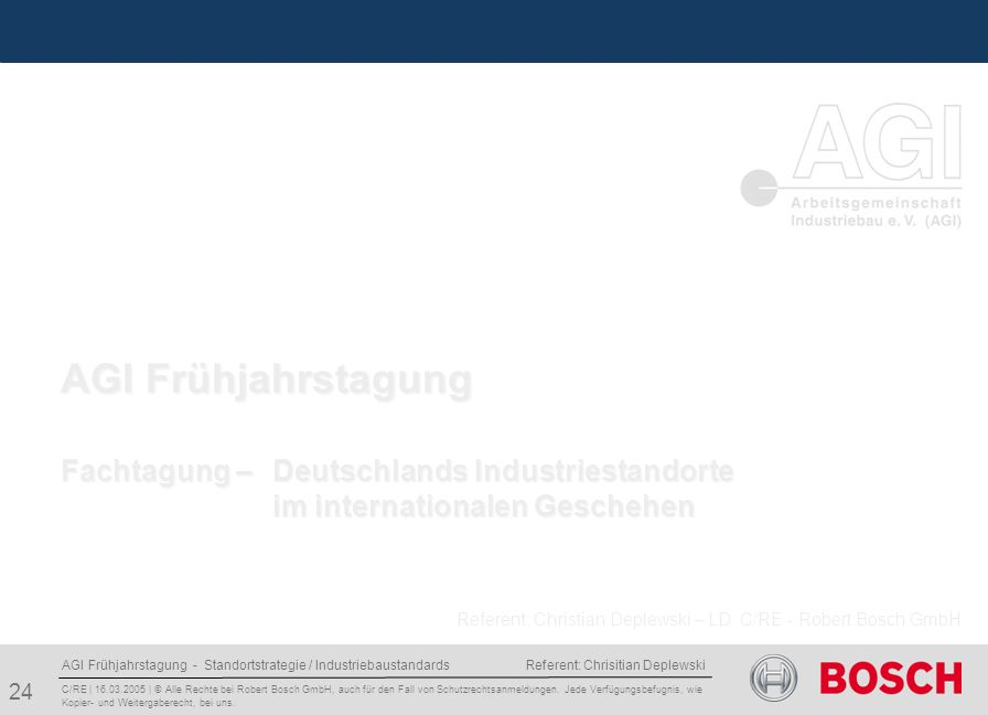 AGI Frühjahrstagung Fachtagung – Deutschlands Industriestandorte