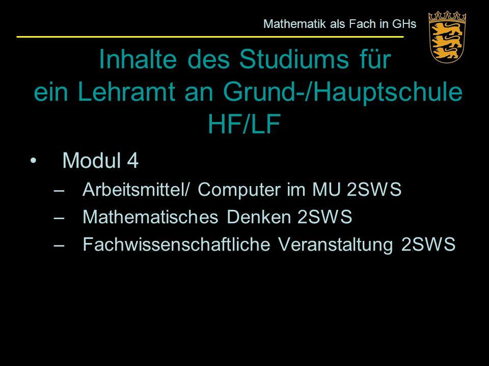 Inhalte des Studiums für ein Lehramt an Grund-/Hauptschule HF/LF