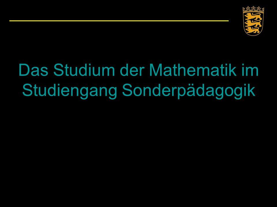 Das Studium der Mathematik im Studiengang Sonderpädagogik