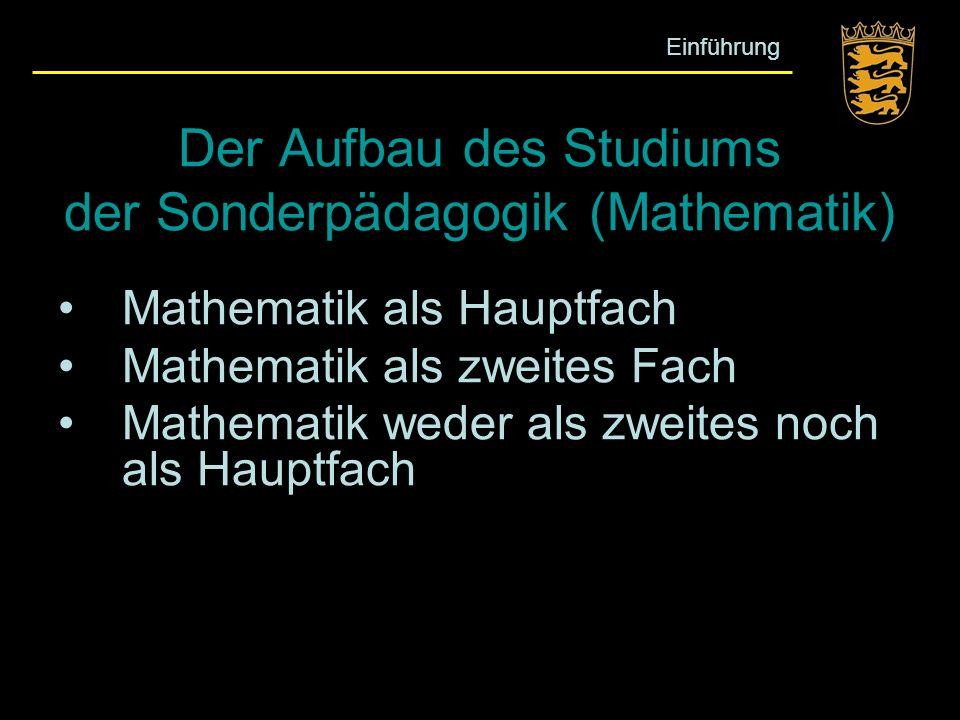 Der Aufbau des Studiums der Sonderpädagogik (Mathematik)