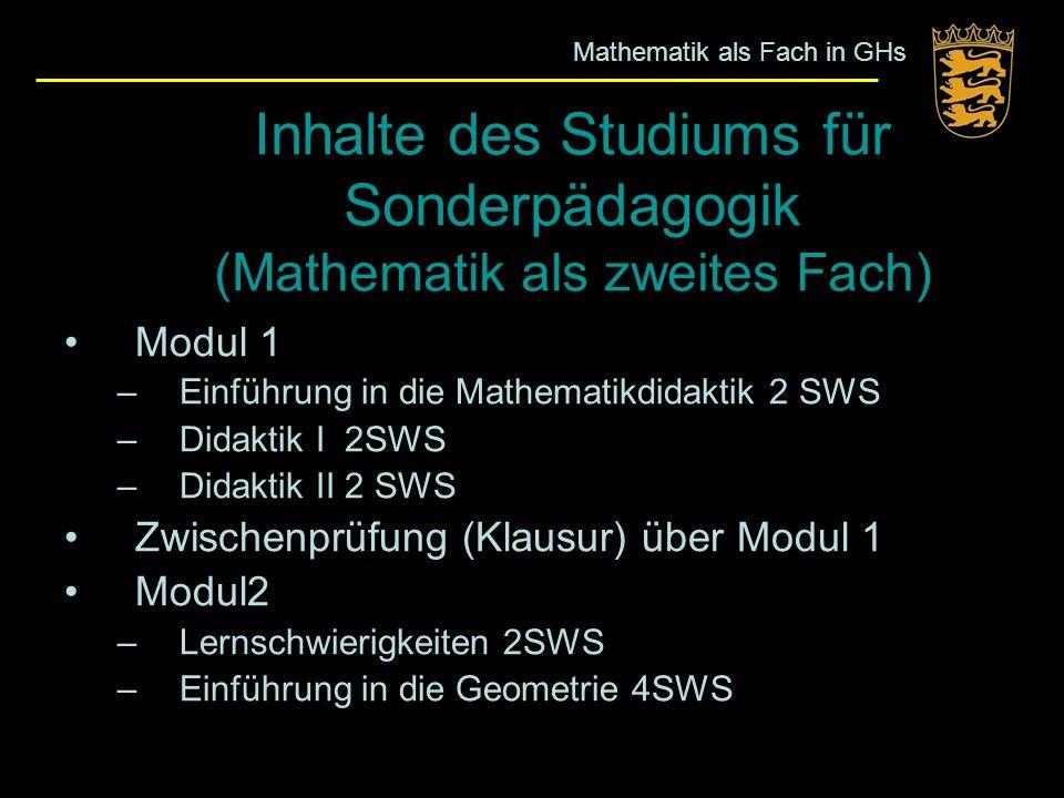 Inhalte des Studiums für Sonderpädagogik (Mathematik als zweites Fach)