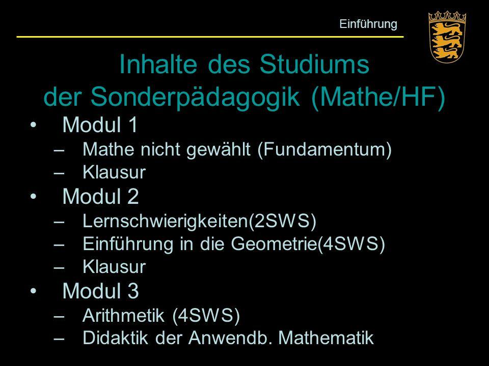 Inhalte des Studiums der Sonderpädagogik (Mathe/HF)