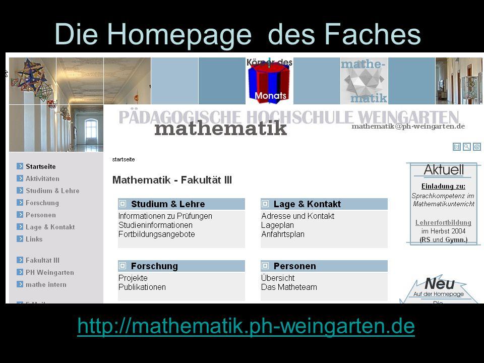 Die Homepage des Faches Mathematik