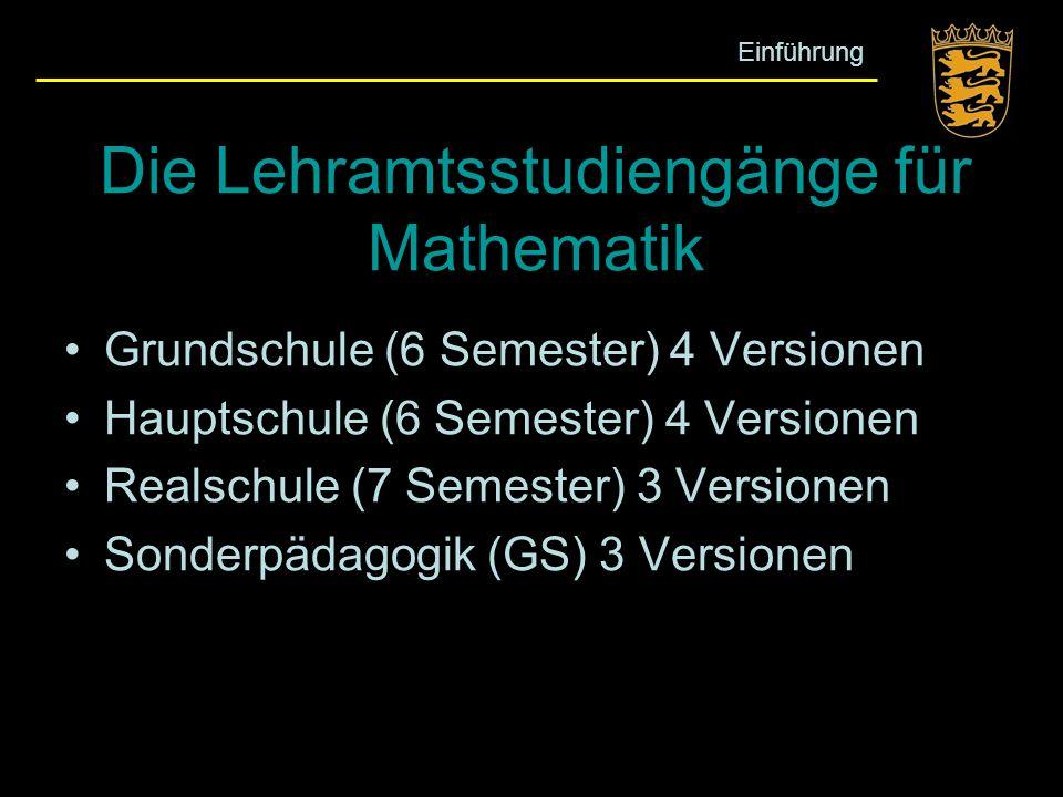 Die Lehramtsstudiengänge für Mathematik