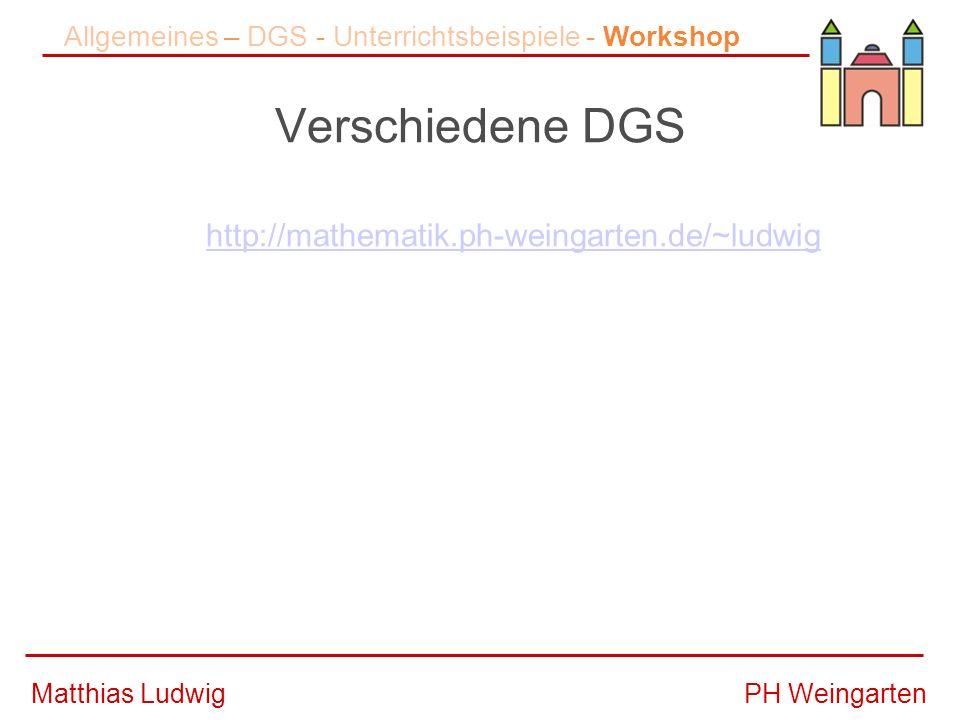 Allgemeines – DGS - Unterrichtsbeispiele - Workshop