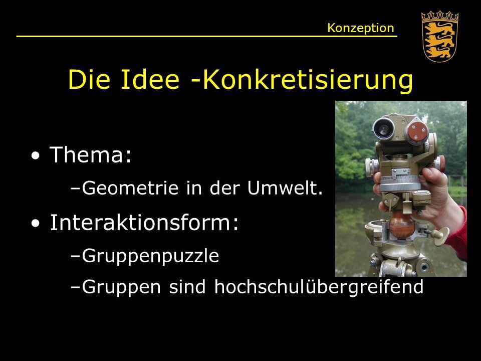 Die Idee -Konkretisierung