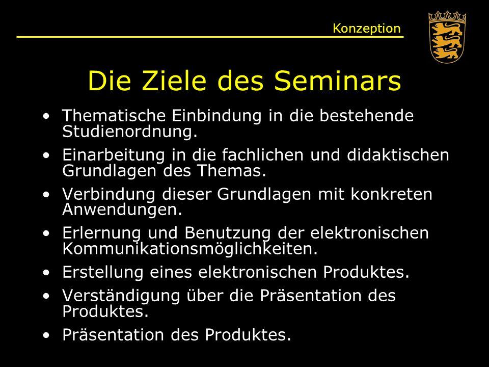 Konzeption Die Ziele des Seminars. Thematische Einbindung in die bestehende Studienordnung.