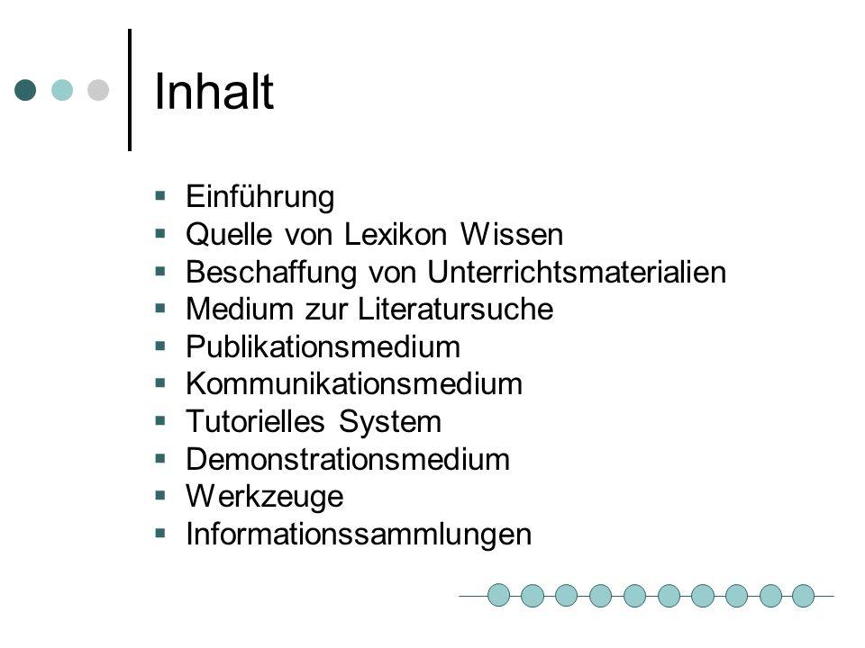 Inhalt Einführung Quelle von Lexikon Wissen