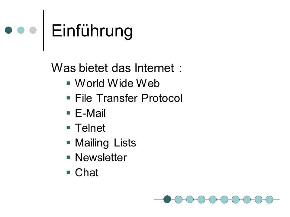 Einführung Was bietet das Internet : World Wide Web
