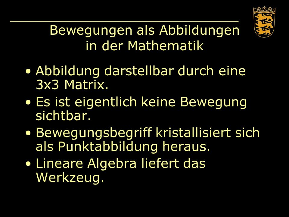 Bewegungen als Abbildungen in der Mathematik