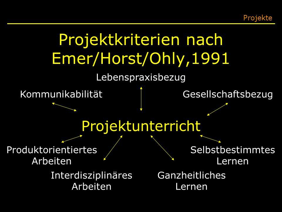 Projektkriterien nach Emer/Horst/Ohly,1991
