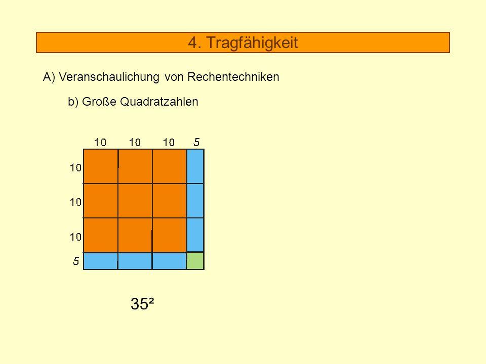 4. Tragfähigkeit 35² A) Veranschaulichung von Rechentechniken