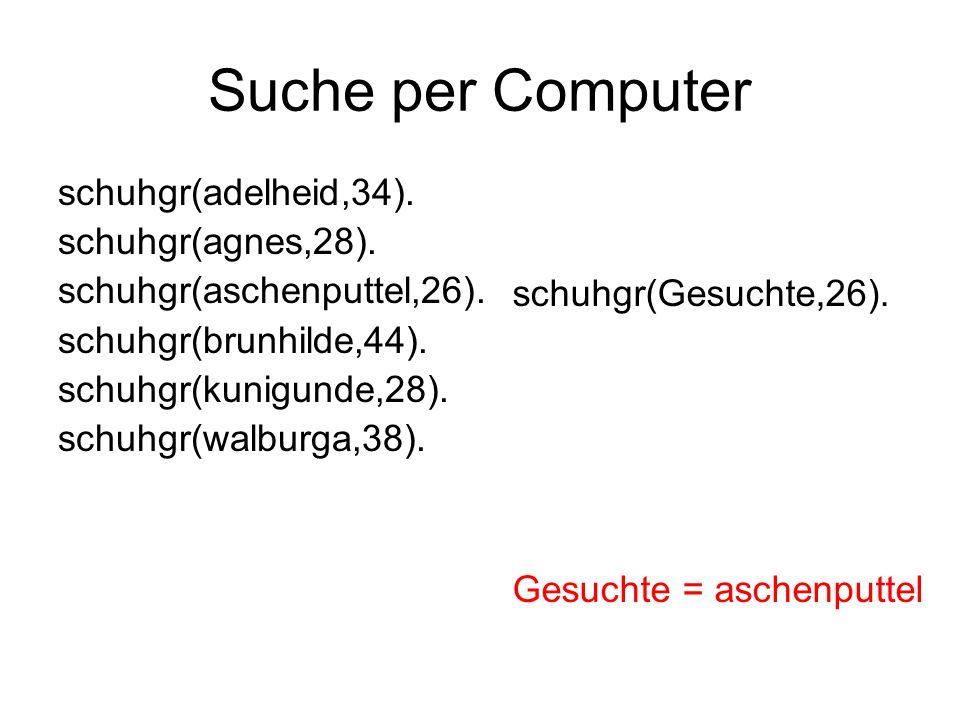 Suche per Computer schuhgr(adelheid,34). schuhgr(agnes,28).