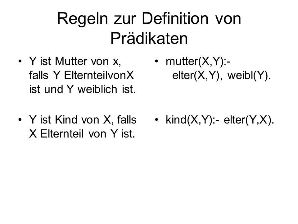 Regeln zur Definition von Prädikaten