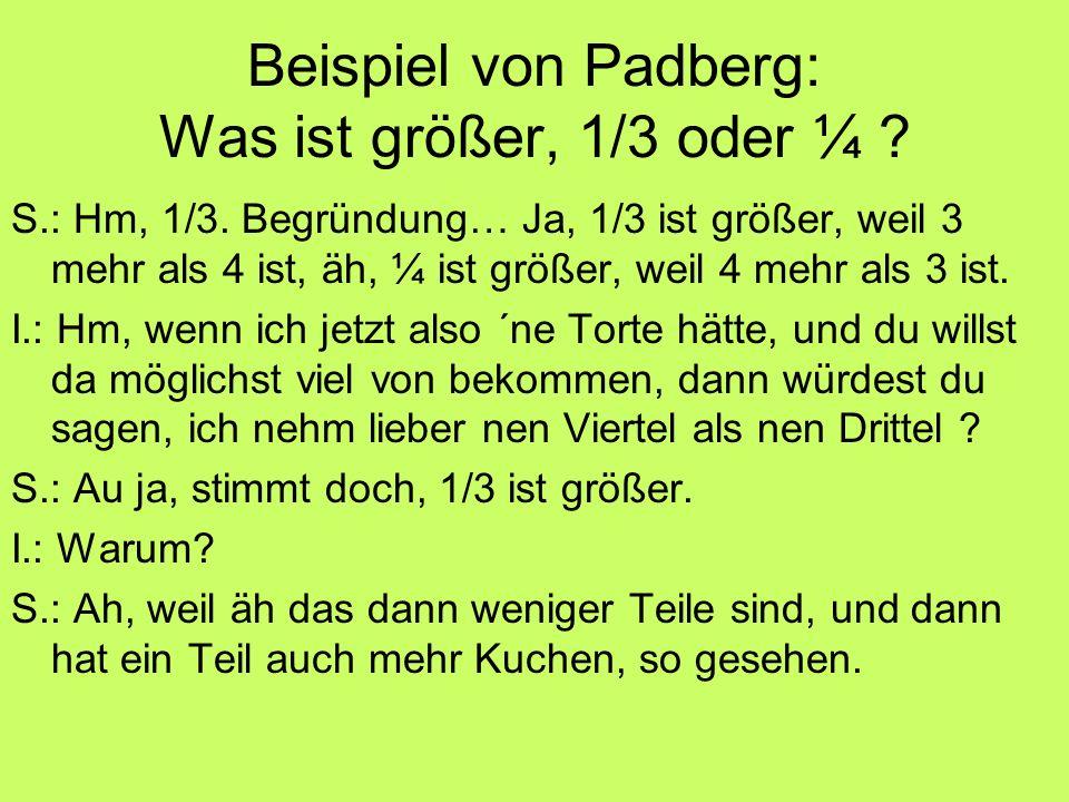 Beispiel von Padberg: Was ist größer, 1/3 oder ¼