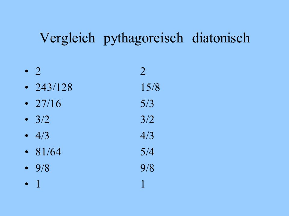 Vergleich pythagoreisch diatonisch