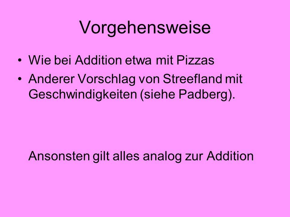 Vorgehensweise Wie bei Addition etwa mit Pizzas