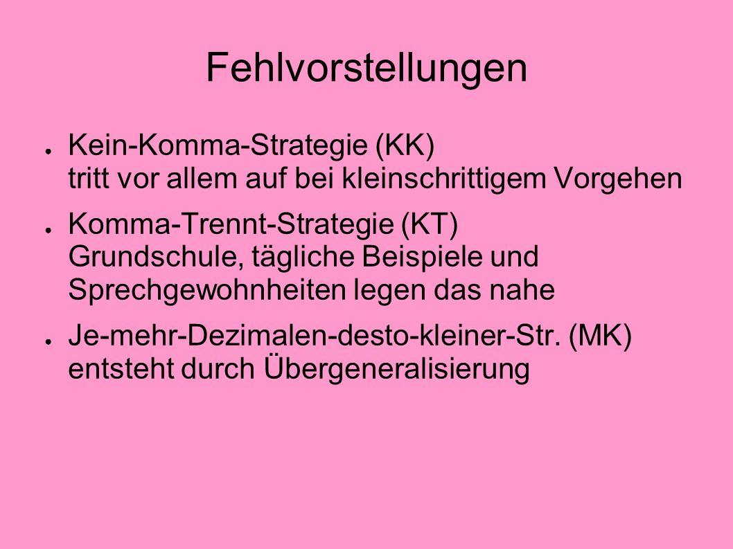 FehlvorstellungenKein-Komma-Strategie (KK) tritt vor allem auf bei kleinschrittigem Vorgehen.