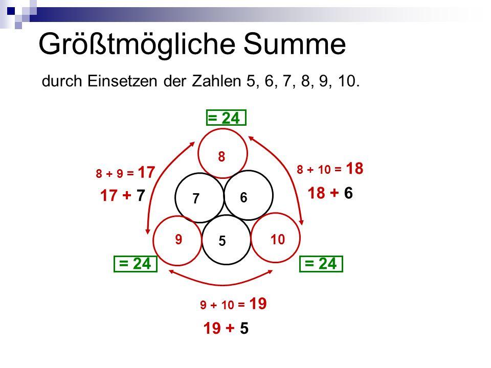 Größtmögliche Summe durch Einsetzen der Zahlen 5, 6, 7, 8, 9, 10.