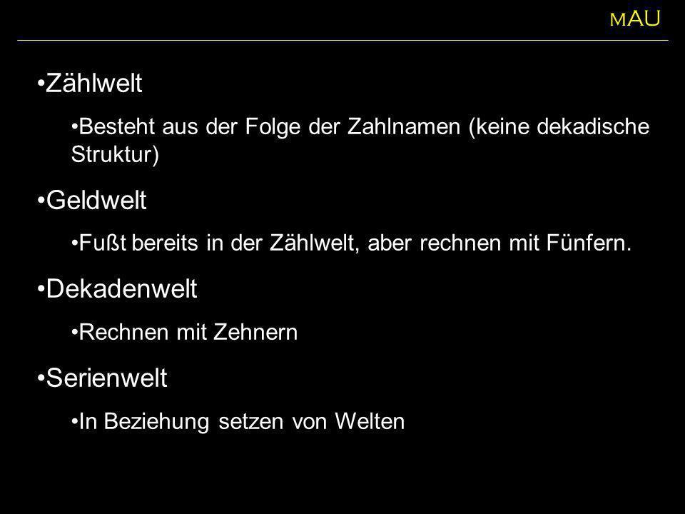 Zählwelt Geldwelt Dekadenwelt Serienwelt mAU