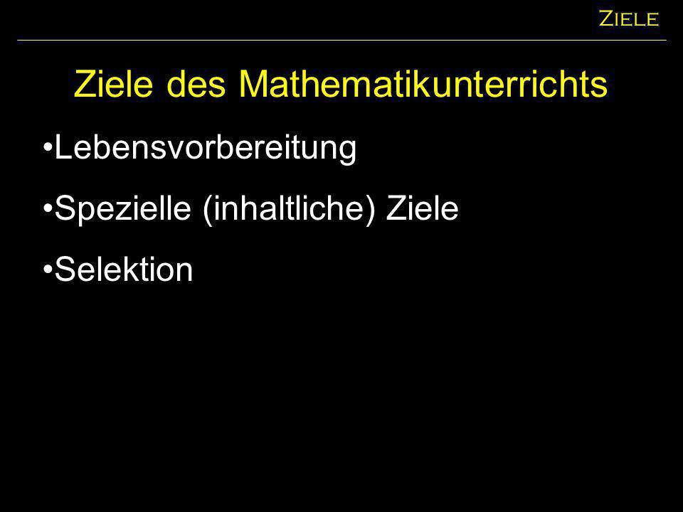 Ziele des Mathematikunterrichts