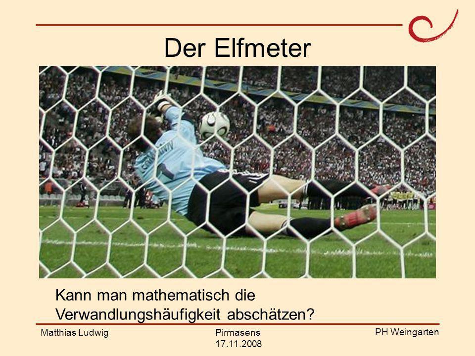 Der Elfmeter Kann man mathematisch die Verwandlungshäufigkeit abschätzen Matthias Ludwig. Pirmasens.