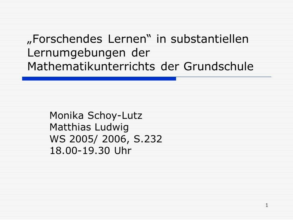 Monika Schoy-Lutz Matthias Ludwig WS 2005/ 2006, S.232 18.00-19.30 Uhr