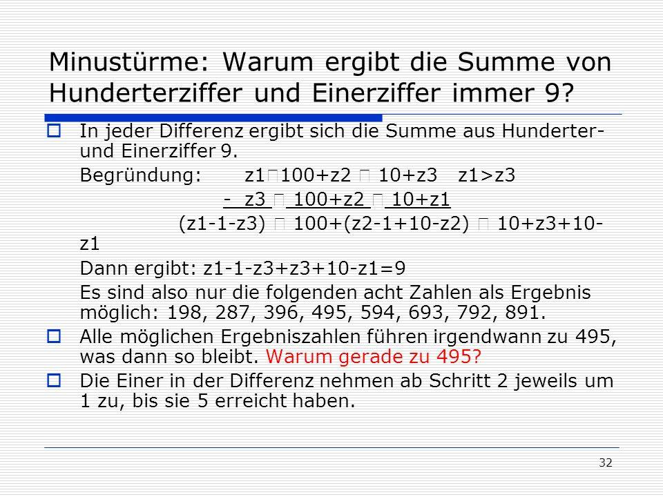 Minustürme: Warum ergibt die Summe von Hunderterziffer und Einerziffer immer 9