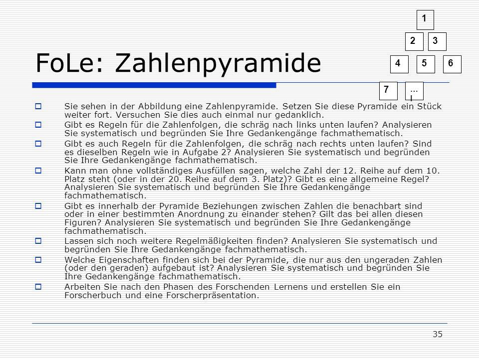 1 2. 3. 4. 5. 6. 7. …l. FoLe: Zahlenpyramide.