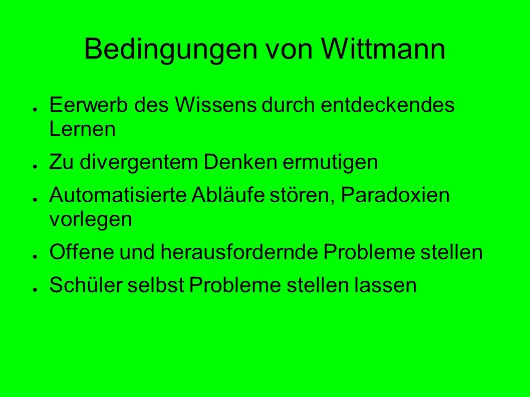 Bedingungen von Wittmann