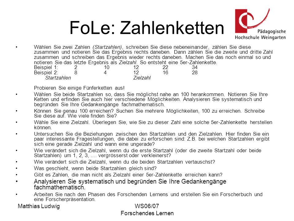 FoLe: Zahlenketten