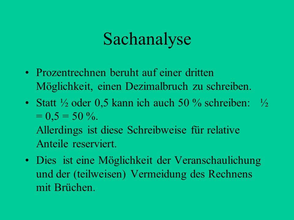 Sachanalyse Prozentrechnen beruht auf einer dritten Möglichkeit, einen Dezimalbruch zu schreiben.