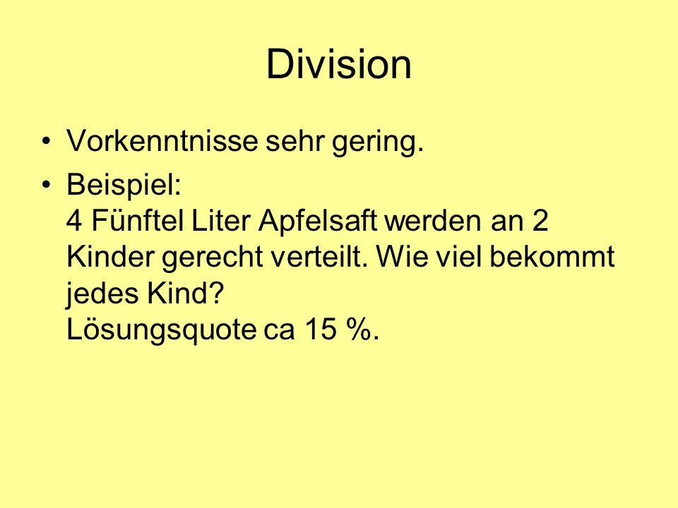 Division Vorkenntnisse sehr gering.