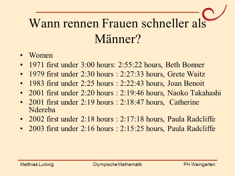 Wann rennen Frauen schneller als Männer