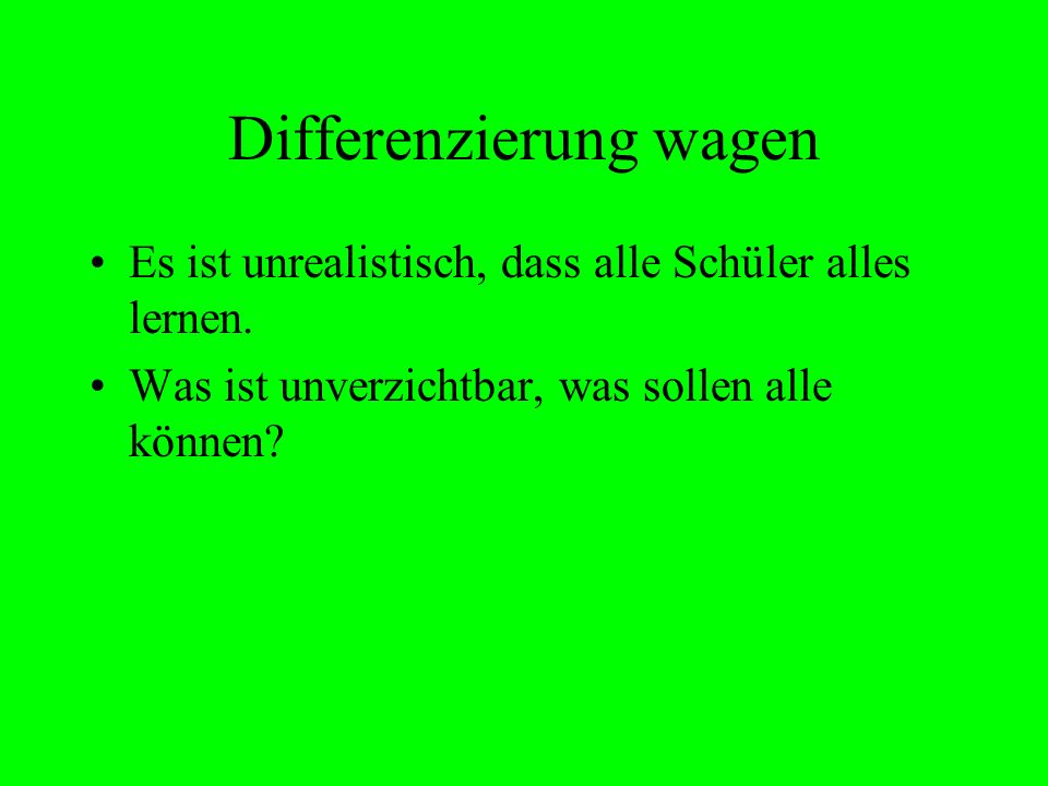 Differenzierung wagen