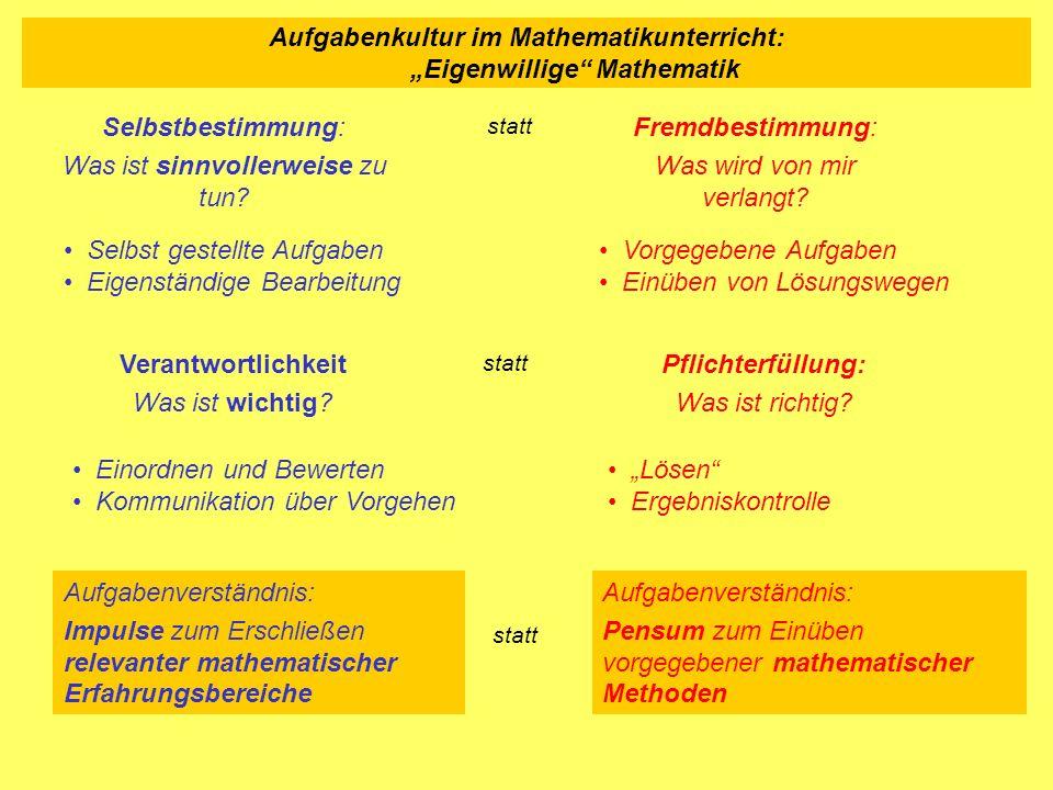 """Aufgabenkultur im Mathematikunterricht: """"Eigenwillige Mathematik"""