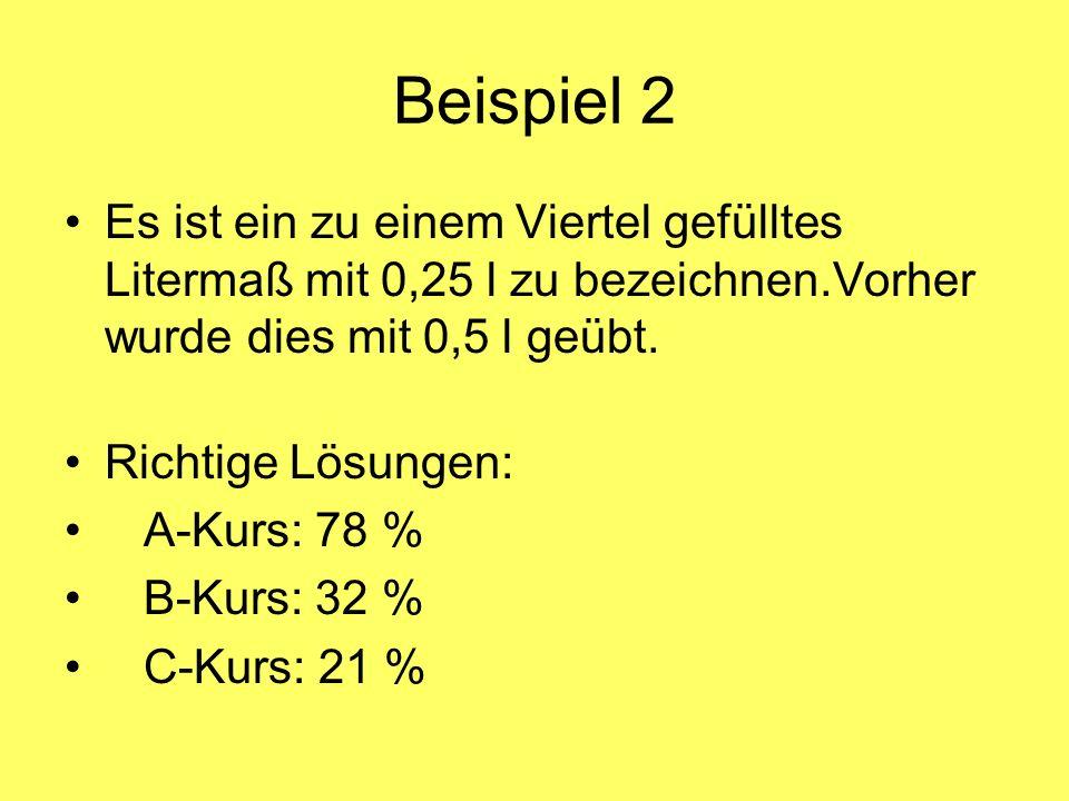 Beispiel 2 Es ist ein zu einem Viertel gefülltes Litermaß mit 0,25 l zu bezeichnen.Vorher wurde dies mit 0,5 l geübt.