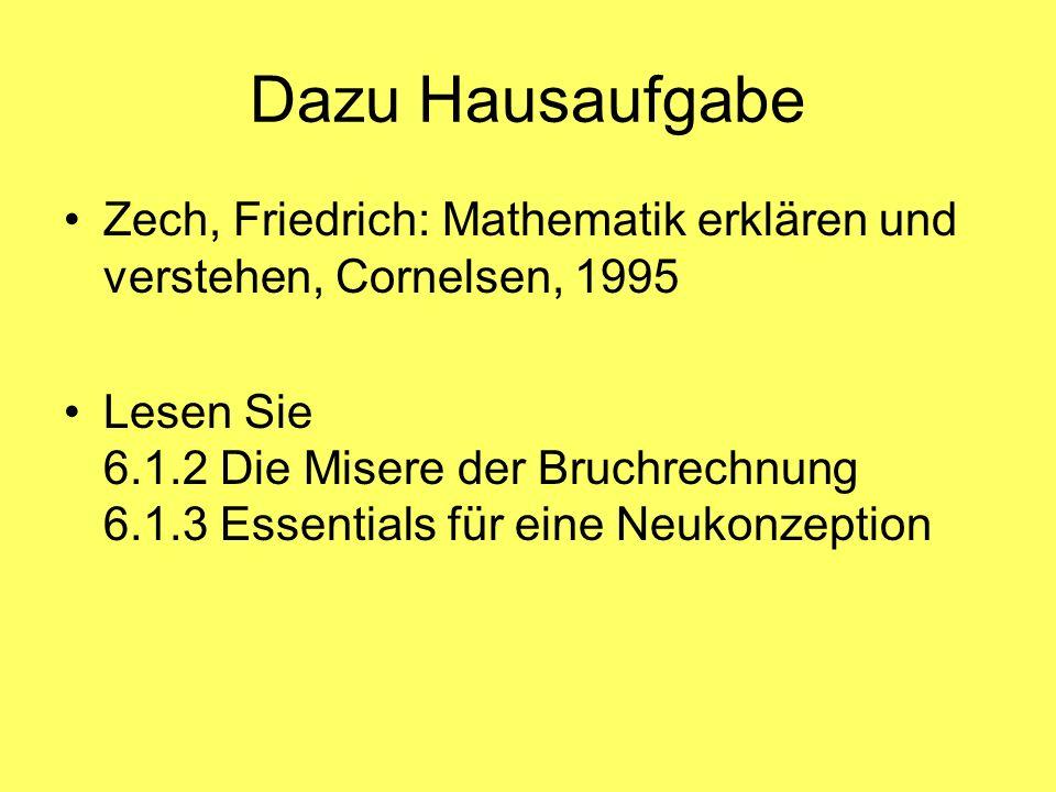 Dazu Hausaufgabe Zech, Friedrich: Mathematik erklären und verstehen, Cornelsen, 1995.