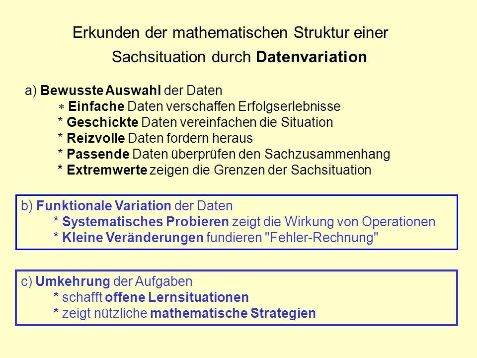 Erkunden der mathematischen Struktur einer Sachsituation durch Datenvariation
