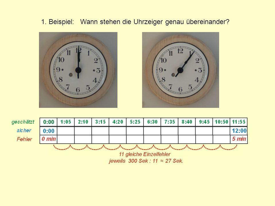 1. Beispiel: Wann stehen die Uhrzeiger genau übereinander