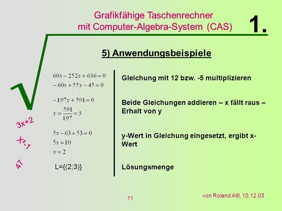 1. 5) Anwendungsbeispiele Gleichung mit 12 bzw. -5 multiplizieren