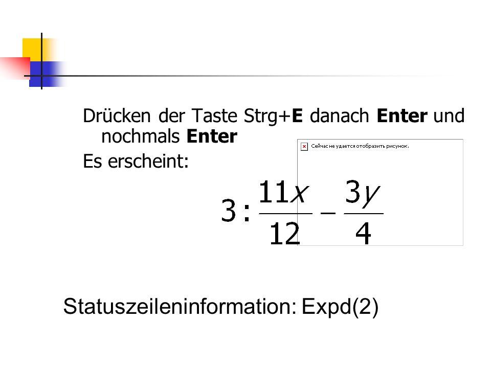 Statuszeileninformation: Expd(2)