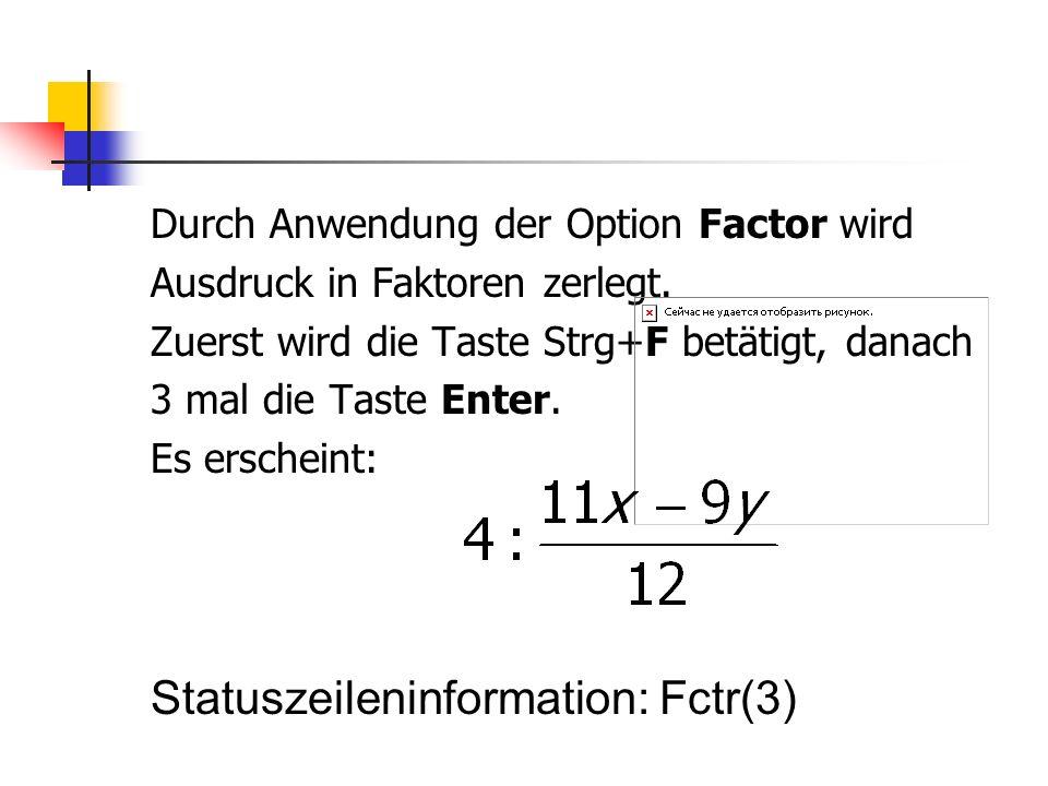 Statuszeileninformation: Fctr(3)