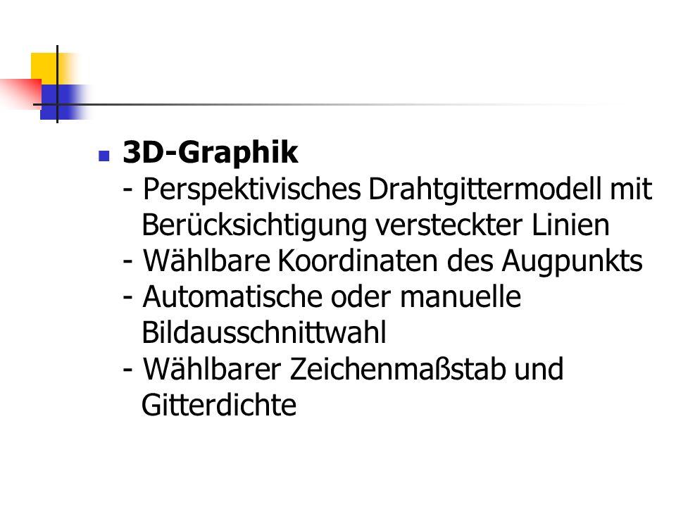 3D-Graphik - Perspektivisches Drahtgittermodell mit Berücksichtigung versteckter Linien - Wählbare Koordinaten des Augpunkts - Automatische oder manuelle Bildausschnittwahl - Wählbarer Zeichenmaßstab und Gitterdichte