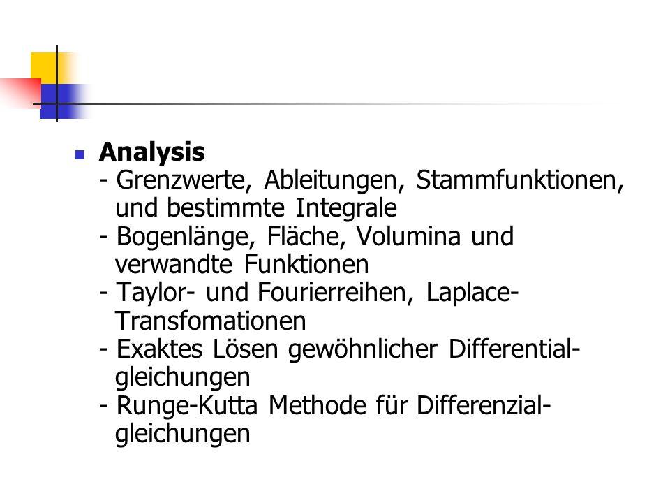 Analysis - Grenzwerte, Ableitungen, Stammfunktionen, und bestimmte Integrale - Bogenlänge, Fläche, Volumina und verwandte Funktionen - Taylor- und Fourierreihen, Laplace- Transfomationen - Exaktes Lösen gewöhnlicher Differential- gleichungen - Runge-Kutta Methode für Differenzial- gleichungen
