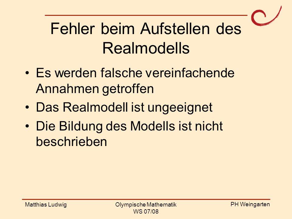 Fehler beim Aufstellen des Realmodells